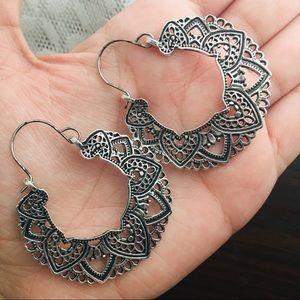 Bohemian Lotus Flower Hoop Earrings